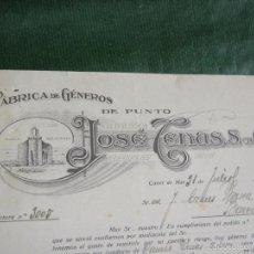 Facturas antiguas: FACTURA FABRICA GENEROS DE PUNTO JOSE TENAS, CANET DE MAR, 1931. Lote 56954507