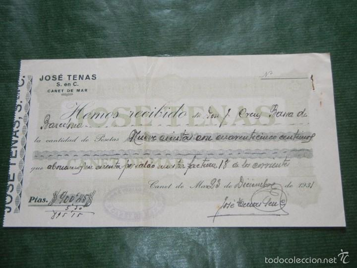 RECIBO FABRICA GENEROS DE PUNTO JOSE TENAS, CANET DE MAR, 1931 (Coleccionismo - Documentos - Facturas Antiguas)