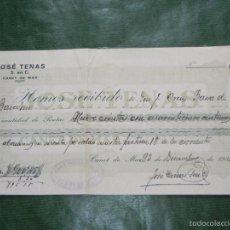 Facturas antiguas: RECIBO FABRICA GENEROS DE PUNTO JOSE TENAS, CANET DE MAR, 1931. Lote 56954598