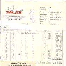 Facturas antiguas: FACTURA DE CONFECCIONES SALAS 1968. Lote 56996662