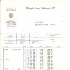 Facturas antiguas: MANUFACTURAS CAÑAMÁS , S.A. 1968 MATARO BARCELONA. Lote 57017483