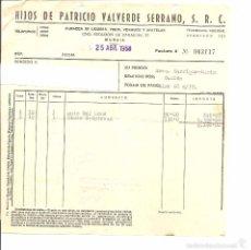Facturas antiguas: HIJOS DE PATRICIO VALVERDE SERRANO , S.R.C. 1968 Y 1970, MURCIA. Lote 57026179