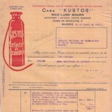 Faturas antigas: FACTURA ANTIGUA. CASA KUSTOS. EXTINTOR DE INCENDIOS. MADRID 1930.. Lote 57079436