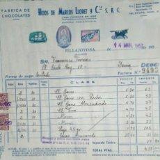 Facturas antiguas: HIJOS DE MARCOS LLORET Y CIA. FÁBRICA DE CHOCOLATES. VILLAJOYOSA ALICANTE. 1957. Lote 57123341