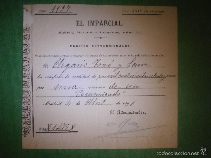 RECIBO DEL AÑO 1891 DEL PERIODICO - EL IMPARCIAL - POR PUBLICACIÓN DE UN COMUNICADO EN PRENSA - (Coleccionismo - Documentos - Facturas Antiguas)