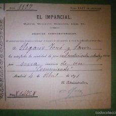 Facturas antiguas: RECIBO DEL AÑO 1891 DEL PERIODICO - EL IMPARCIAL - POR PUBLICACIÓN DE UN COMUNICADO EN PRENSA - . Lote 57312367