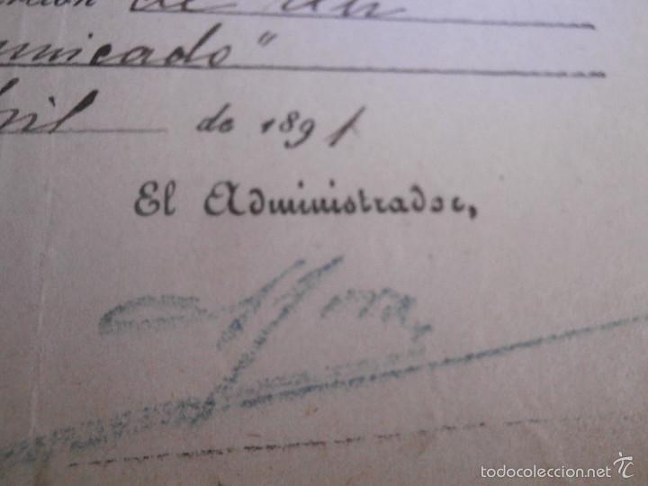 Facturas antiguas: Recibo del año 1891 del periodico - El Imparcial - por publicación de un comunicado en prensa - - Foto 3 - 57312367