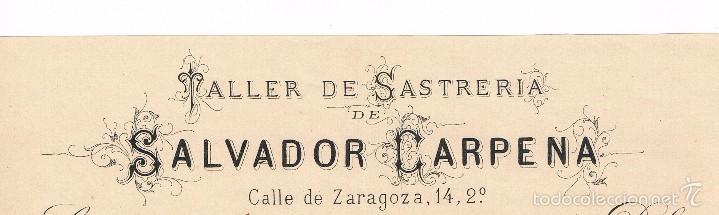 Facturas antiguas: VALENCIA - 1882 - TALLER DE SASTRERIA - SALVADOR CARPENA - SIGLO XIX - Foto 2 - 57387662