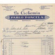 Facturas antiguas: FACTURA. PABLO PONCELA, ALMACENES ´´LA BOHEMIA´´, BISUTERIA Y QUINCALLA, MADRID, 1947.. Lote 57388694