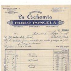 Facturas antiguas: FACTURA. PABLO PONCELA, ALMACENES ´´LA BOHEMIA´´, BISUTERIA Y QUINCALLA, MADRID, 1947.. Lote 57388964
