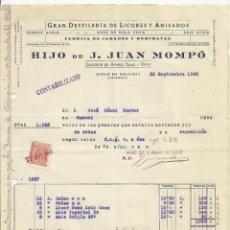 Facturas antiguas: DESTILERIA JUAN MOMPO 1945 AIELO DE MALFERIT VALENCIA FACTURA Y GUIA. Lote 57436684