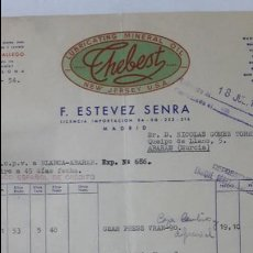 Facturas antiguas: ANTIGUA FACTURA LUBRICANTES MINERAL OIL THEBEST ESTEVEZ SERNA MADRID 1954. Lote 57900085