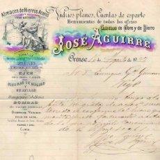 Facturas antiguas: FACTURA JOSE AGUIRRE. FIRMA. ORENSE. ALMANCÉN DE HIERROS Y ACEROS. VIDRIOS PLANOS, CUERDAS ESPARTO.. Lote 58150050