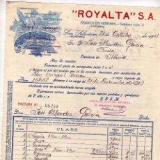 Fatture antiche: ROYALTA. FÁBRICA EN HERNANI Y SAN SEBASTIAN. BARQUILLO DE TODAS FORMAS, HOJUELAS RELLANADOS.. Lote 58150112