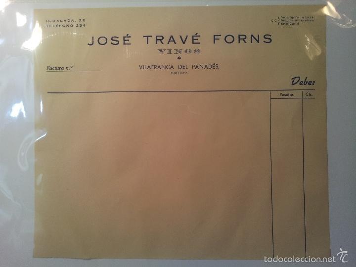 FACTURA EN BLANCO JOSEP TRAVÉ FORNS -VINOS --VILAFRANCA PENEDES-PANADES AÑOS 40 (Coleccionismo - Documentos - Facturas Antiguas)