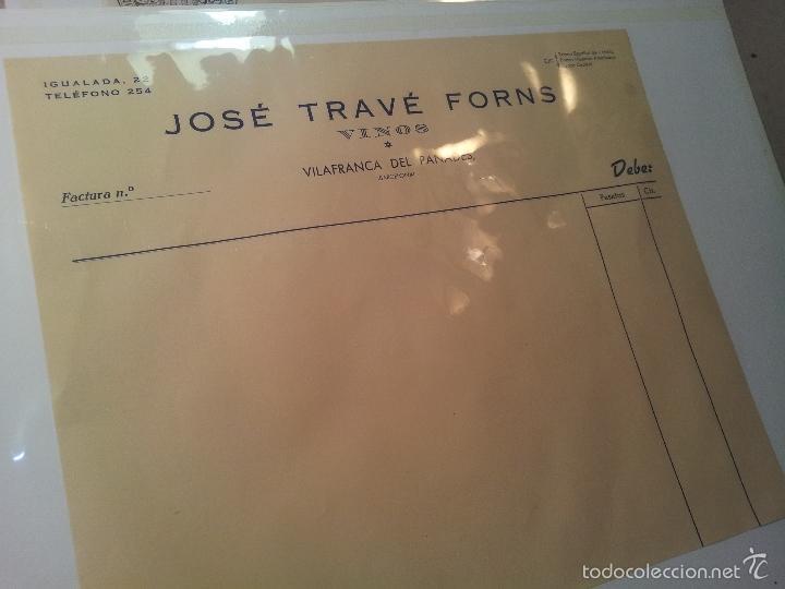 Facturas antiguas: FACTURA EN BLANCO JOSEP TRAVÉ FORNS -VINOS --VILAFRANCA PENEDES-PANADES AÑOS 40 - Foto 2 - 58156850