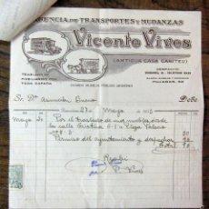 Factures anciennes: FACTURA DE MUDANZA Y PERMISO DEL AYUNTAMIENTO DE BARCELONA - MAYO 1933 - VICENTE VIVES. Lote 58264239
