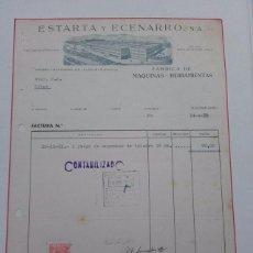 Facturas antiguas: ESTARTA Y ECENARRO, FABRICA DE HERRAMIENTAS, ELGOIBAR, GUIPUZCOA, FACTURA AÑO 1952.. Lote 58380346