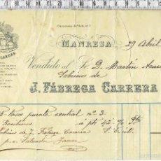 Facturas antiguas: FACTURA FABRICA DE CARDAS J.FÁBREGA CARRERA - MANRESA 1905.. Lote 58572563