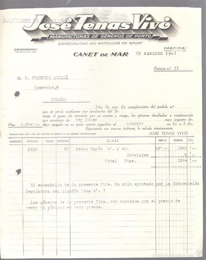 FACTURA. JOSE TENAS VIVO. GENEROS DE PUNTO. CANET DE MAR. 1941. (Coleccionismo - Documentos - Facturas Antiguas)