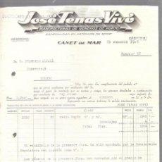 Facturas antiguas: FACTURA. JOSE TENAS VIVO. GENEROS DE PUNTO. CANET DE MAR. 1941.. Lote 59133655
