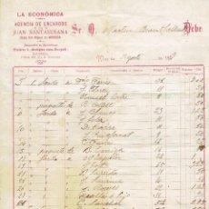 Facturas antiguas: FACTURA AGENCIA DE ENCARGOS O TRANSPORTES LA ECONÓMICA DE JUAN SANTASUSANA - 1909. Lote 59419660