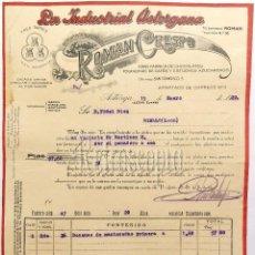 Fatture antiche: FACTURA FABRICA DE CHOCOLATES LA INDUSTRIAL ASTORGANA ROMÁN CRESPO. ASTORGA LEON 1922. Lote 59607203