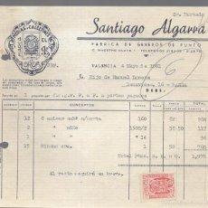 Facturas antiguas: FACTURA. SANTIAGO ALGARRA. GENEROS DE PUNTO.. Lote 59745272