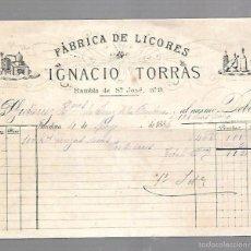Facturas antiguas: FACTURA. FABRICA DE LICORES DE IGNACIO TORRAS. BARCELONA. 1886. Lote 60973663