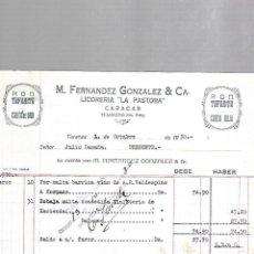Facturas antiguas: FACTURA. M.FERNANDEZ GONZALEZ & CIA. LICORERIA LA PASTORA. CARACAS, VENEZUELA. 1930. Lote 61255283