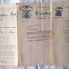 Facturas antiguas: FACTURAS DE FÁBRICA LA UNIVERSAL DE GALLETAS BIZCOCHOS Y GAUFRES MANUEL NAVARRO MOLINÉ ZARAGOZA 1952. Lote 61332007