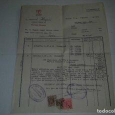 Facturas antiguas: ANTIGUA FACTURA COMERCIAL HISPANIA AGENCIA OFICIAL FIRESTONE MADRID 1951 3 VIÑETAS DE 25 Y 50 . Lote 61434235