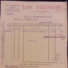 Facturas antiguas: LOS PIRINEOS FÁBRICA DE PRODUCTOS DERIVADOS DE LA LECHE DE VACAS EXQUISITOS CHOCOLATES GUERNICA 1924. Lote 61853056