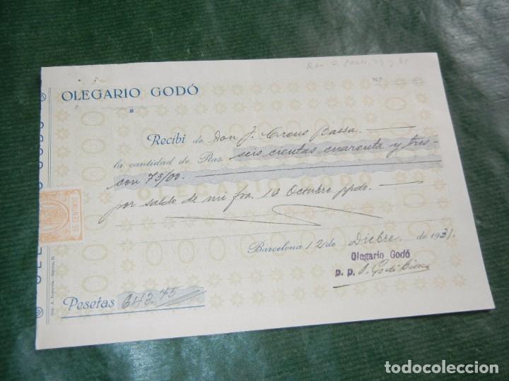 RECIBO OLEGARIO GODO, FABRICAS DE CUTIES Y OTROS TEJIDOS, BARCELONA 1931 (Coleccionismo - Documentos - Facturas Antiguas)