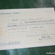 Facturas antiguas: RECIBO OLEGARIO GODO, FABRICAS DE CUTIES Y OTROS TEJIDOS, BARCELONA 1931. Lote 62434780