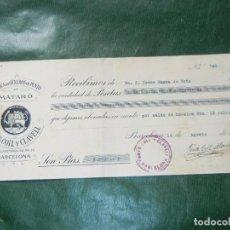 Facturas antiguas: RECIBO FONTS, COLL Y CLAVELL, FABRICA GENEROS DE PUNTO EN MATARO, BARCELONA 1931. Lote 62434948