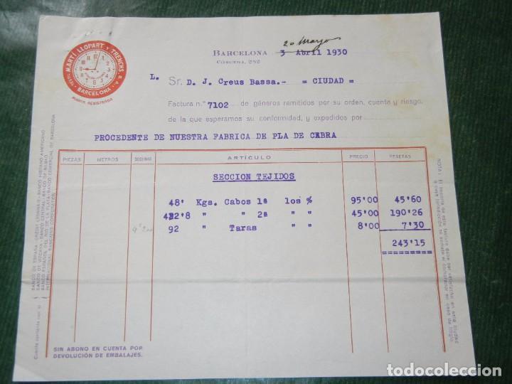 FACTURA TEXTIL MARTI LLOPART Y TRENCHS S.A. BARCELONA 1930 (Coleccionismo - Documentos - Facturas Antiguas)