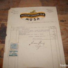 Facturas antiguas: FACTURA MOTOR UNION, S.A. , MALLORCA, 1938. Lote 105920815