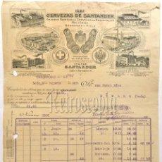 Facturas antiguas: FACTURA FABRICA DE CERVEZAS CERVEZA DE SANTANDER. LA CRUZ BLANCA. LA AUSTRIACA 1929. Lote 62700484
