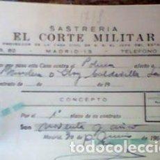 Factures anciennes: RECIBO PAGO A PLAZOS EL CORTE MILITAR - CON PÓLIZA - JUNIO 1962. Lote 81173878