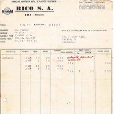 Facturas antiguas: RICO S.A. IBI - 1967 - FACTURA DE JUGUETES ANTIGUA. Lote 63345592