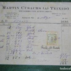 Facturas antiguas: FACTURA MARTIN CUSACHS TEIXIDO - RECADERO AUTO-CAMION, ARENYS DE MAR 1930. Lote 63454212
