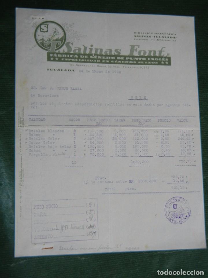 FACTURA FAB.GENEROS PUNTO INGLES T.SALINAS FONT, IGUALADA 1930 (Coleccionismo - Documentos - Facturas Antiguas)