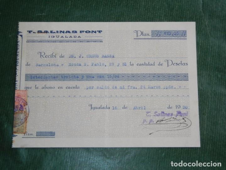 RECIBO FAB.GENEROS PUNTO INGLES T.SALINAS FONT, IGUALADA 1930 (Coleccionismo - Documentos - Facturas Antiguas)