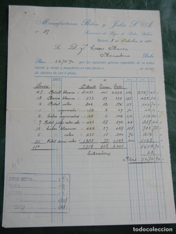 FACTURA FAB.GENEROS PUNTO MANUFACTURAS RIBAS Y JULIA S.A, MATARO 1931 (Coleccionismo - Documentos - Facturas Antiguas)