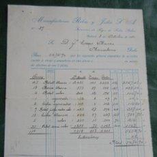Facturas antiguas: FACTURA FAB.GENEROS PUNTO MANUFACTURAS RIBAS Y JULIA S.A, MATARO 1931. Lote 63946423