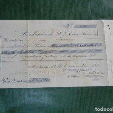Facturas antiguas: RECIBO FAB.GENEROS PUNTO MANUFACTURAS RIBAS Y JULIA S.A, MATARO 1931. Lote 63946931