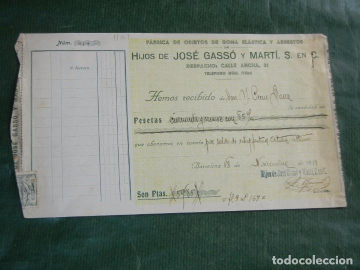 RECIBO FAB.OBJETOS GOMA ELASTICA Y ASBESTOS, HIJOS JOSE GASSO Y MARTI, S.EN.C., BARCELONA 1931 (Coleccionismo - Documentos - Facturas Antiguas)