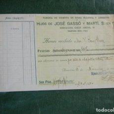 Facturas antiguas: RECIBO FAB.OBJETOS GOMA ELASTICA Y ASBESTOS, HIJOS JOSE GASSO Y MARTI, S.EN.C., BARCELONA 1931. Lote 63947951
