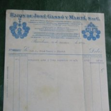 Facturas antiguas: FACTURA HIJOS JOSE GASSO Y MARTI, S.EN.C.,OBJETOS DE CAUCHO, AMIANTO, EBONITA, BARCELONA 1931. Lote 63949031